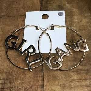 Girl Gang gold toned hoop earrings